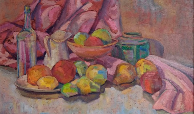 Fruit with Pink Drape 18x24
